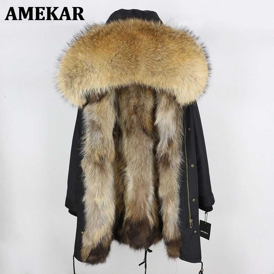 Occident Winter Women thick Fur Hooded Coat Faux Fox Fur Warm Long Parka Jacket