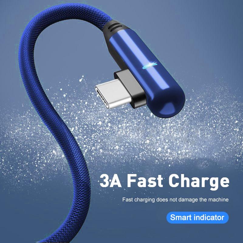 90 градусов 1/2 м кабель Micro USB для быстрой зарядки с-типа и разъем USB для Samsung A7 S9 S10 Xiaomi Android микро USB зарядное устройство кабель для зарядки
