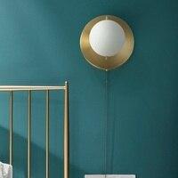 LukLoy Copper Wall Sconce Living Room Bedroom Wall Light Postmodern Minimalist LED Copper Wall Lamp Living Room Modern Lighting