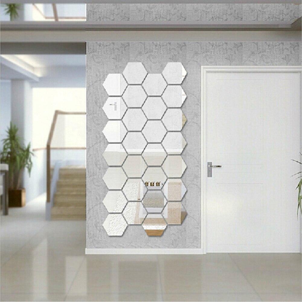 12 шт./компл. DIY 3D зеркальный настенный стикер шестигранный домашний декор зеркальный Декор наклейки художественные настенные украшения наклейки многоцветные Прямая поставка|Декоративные зеркала|   | АлиЭкспресс