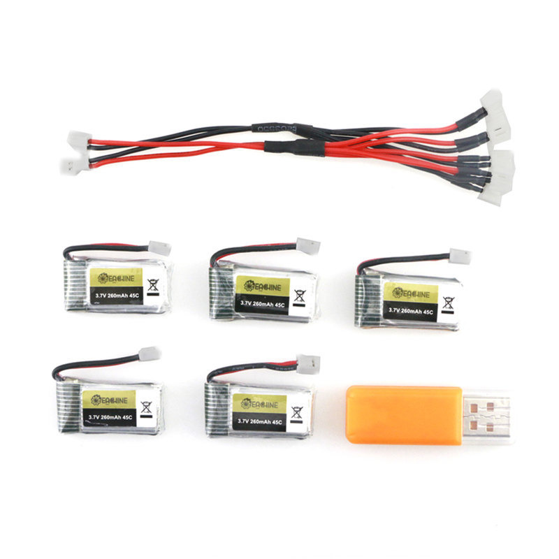 5PCS E010 E010C E011 E011C E013 <font><b>3.7V</b></font> 260MAH 45C Rechargeable <font><b>Lipo</b></font> <font><b>Battery</b></font> USB <font><b>Charger</b></font> Sets For RC Quadcopter Models image