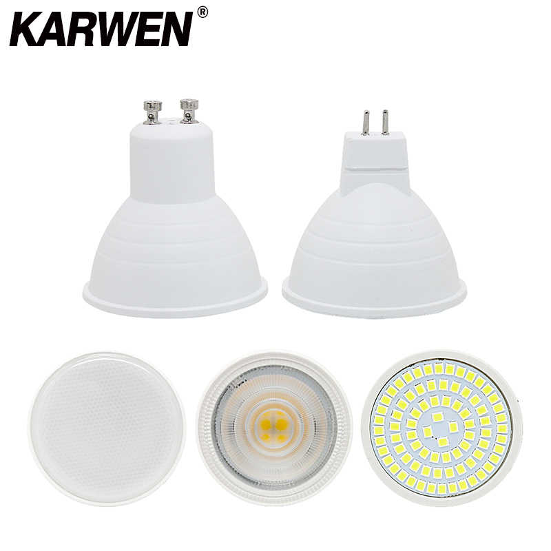 Karwen GU10 LED E27 220V Lampu MR16 Spotlight 7W GU5.3 Spot Light Bulb LED SMD 2835 5W Bombilla E14 Rumah Lampu