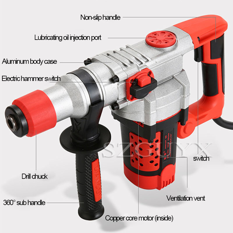 Tools : Multi-function electric impact drill concrete household industrial grade professional drill tool