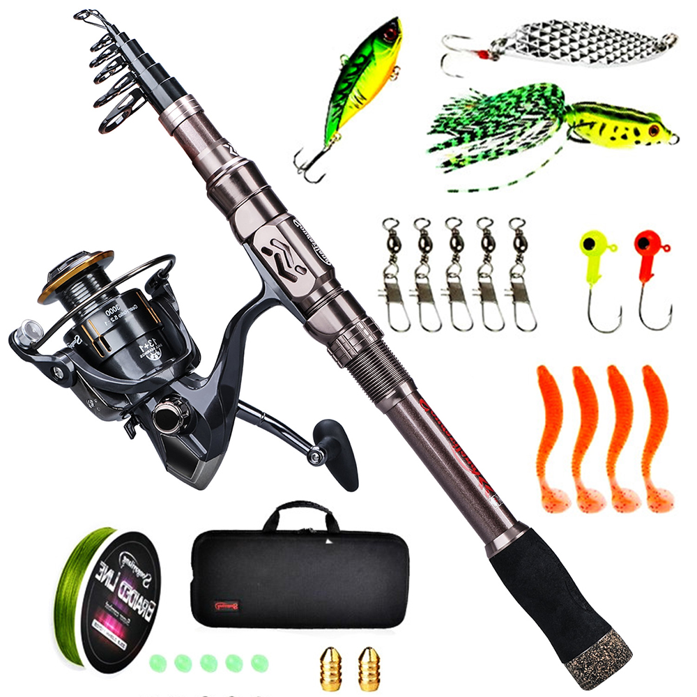Sougayilang 1.8M-2.4M Fishing Rod Combos with Telescopic Fishing Reel Pole Lure Line Bag Sets Kit For Travel Fishing Tackle