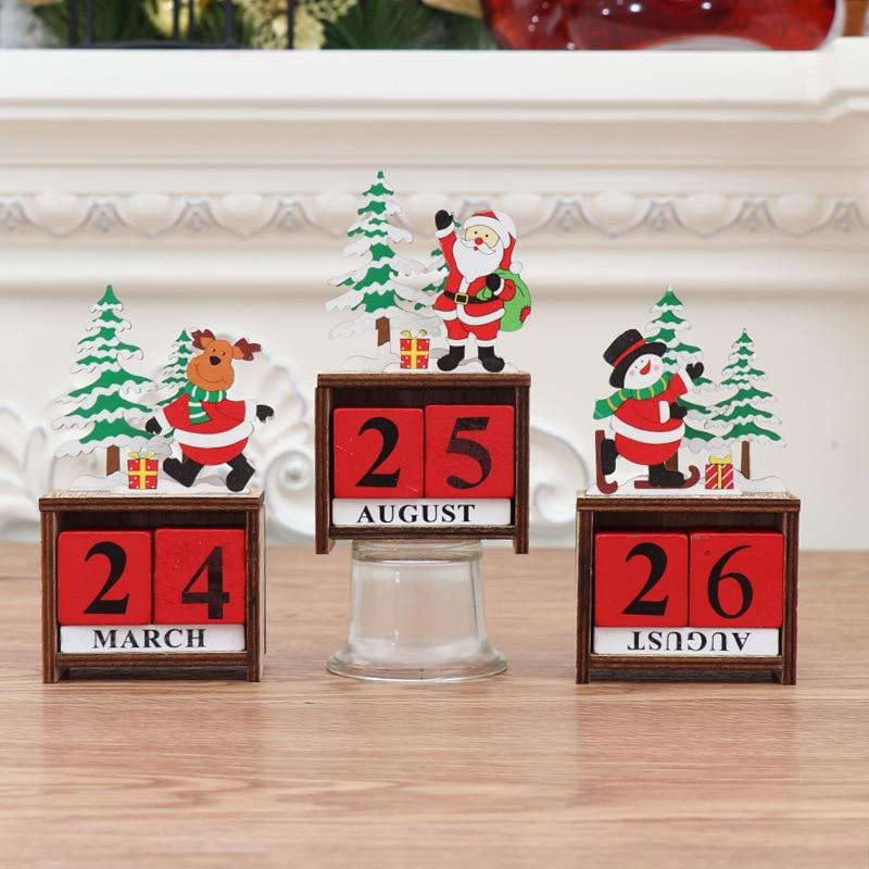 Новогодние рождественские украшения для дома, пасторальное ремесло, дерево, креативный вечный календарь, Natale Merry christmas Navidad, украшения