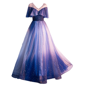 Freeship galaxy sequined stars dream fairy long dress studio/stage/chorus/Victorian dress