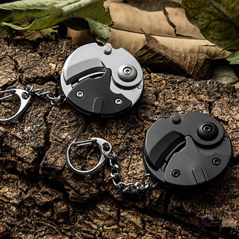 6 In 1Folding Coin Knife Multifunction Survival Tools Key Ring Outdoor Climbing Portable Stainless Keychain Pliers Gadget