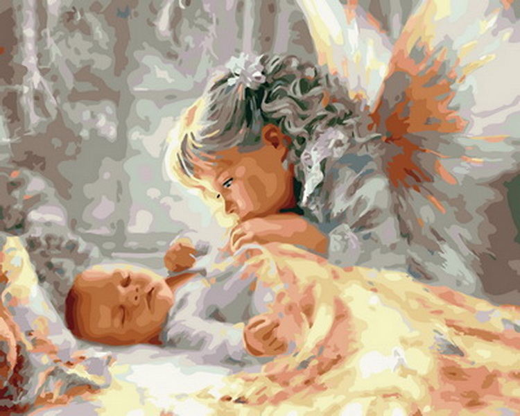 Paint Angel Numbers-Figure-Painting Oil-Picture Home-Decor Baby Unframe for 4050cm  title=