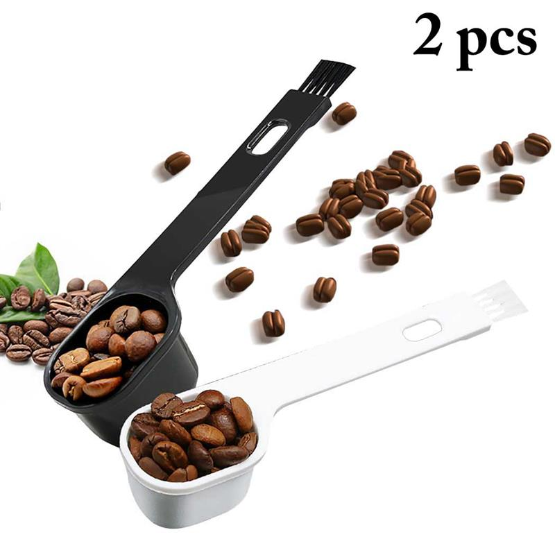 Kapmore 2Pcs Plastic Coffee Measuring Spoon Portable Coffee Scoop With Small Coffee Brush Coffee Tools Accessories