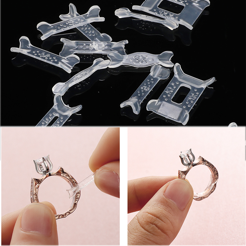 12pcs Transparent Plastic Ring Size Adjuster Set Ring Resizing Jewelry Tools Ring Adjuster Pad Reducer Jewelry Resizing Tools