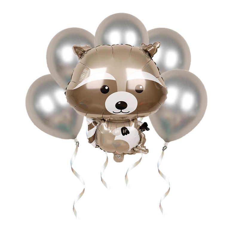 1 Pcs Hewan Besar Balon Raccoon Helium Balon Binatang Selamat Ulang Tahun Hutan Dekorasi Pesta Baby Dekorasi Anak untuk