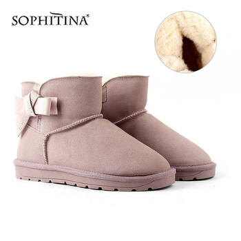 SOPHITINA Fashion Design Boots Very Warm Comfortable Round Toe Women's New Shoes Solid Shoes  Elegant Snow Boots X35