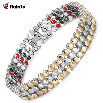 RainSo Stainless Steel Magnetic Charm Bracelets for Women Bio Energy Therapy Love Bracelet Femme Health Jewelry Friendship Gifts 1