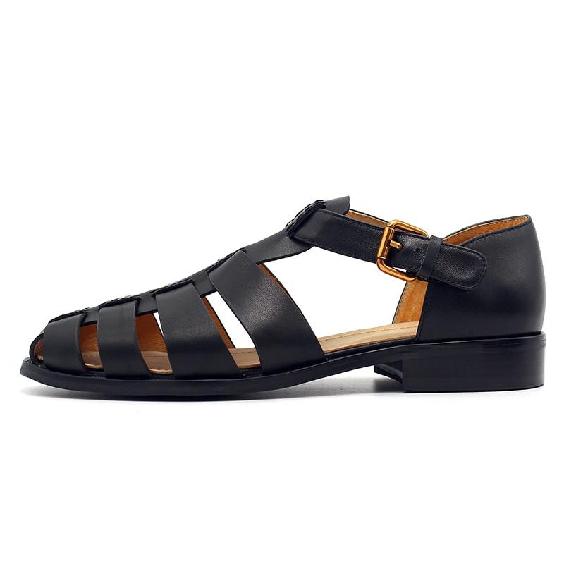 2020 Men Gladiator Sandals Genuine Leather Handmade Vintage Solid Black Street Sandals Summer Shoes British Buckle Flat Sandals