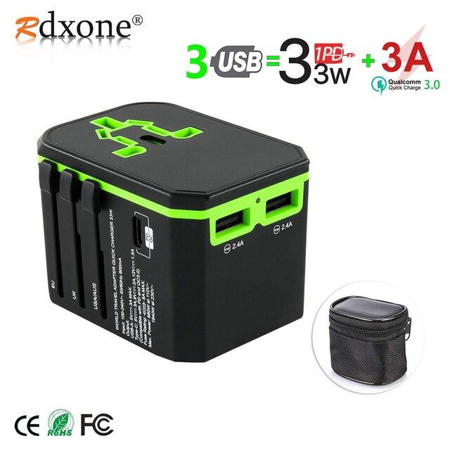 Rdxone Universal Travel Adapter All in one อะแดปเตอร์ปลั๊กไฟฟ้าสำหรับโทรศัพท์มือถือ,แท็บเล็ต, กล้อง,แล็ปท็อป