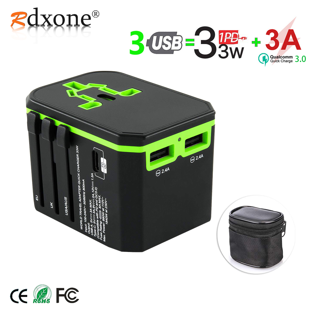 Rdxone Universal Travel Adaptor All in one Power Adapter wall Electric Plugs Sockets for Mobile Phone, Tablet, Camera, Laptop-in International Plug Adaptor from Consumer Electronics