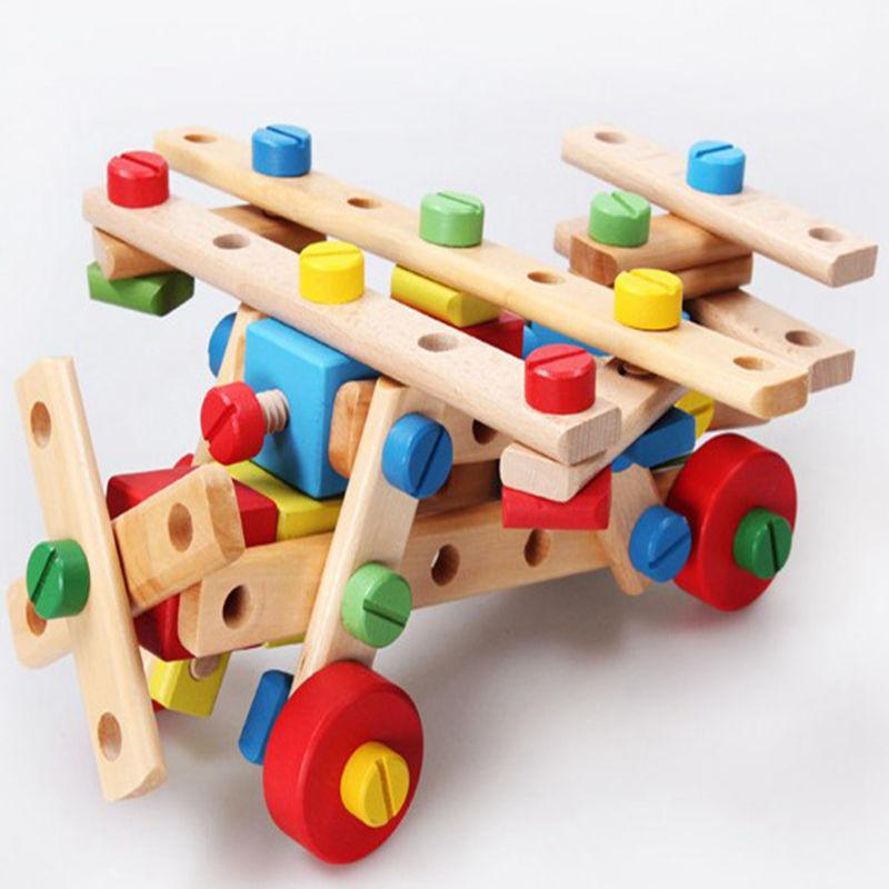 Wooden Multi-functional Nut Combination Building Block Toys Hands-on Disassembly And Assembly Variable Screw Tools Children Gift