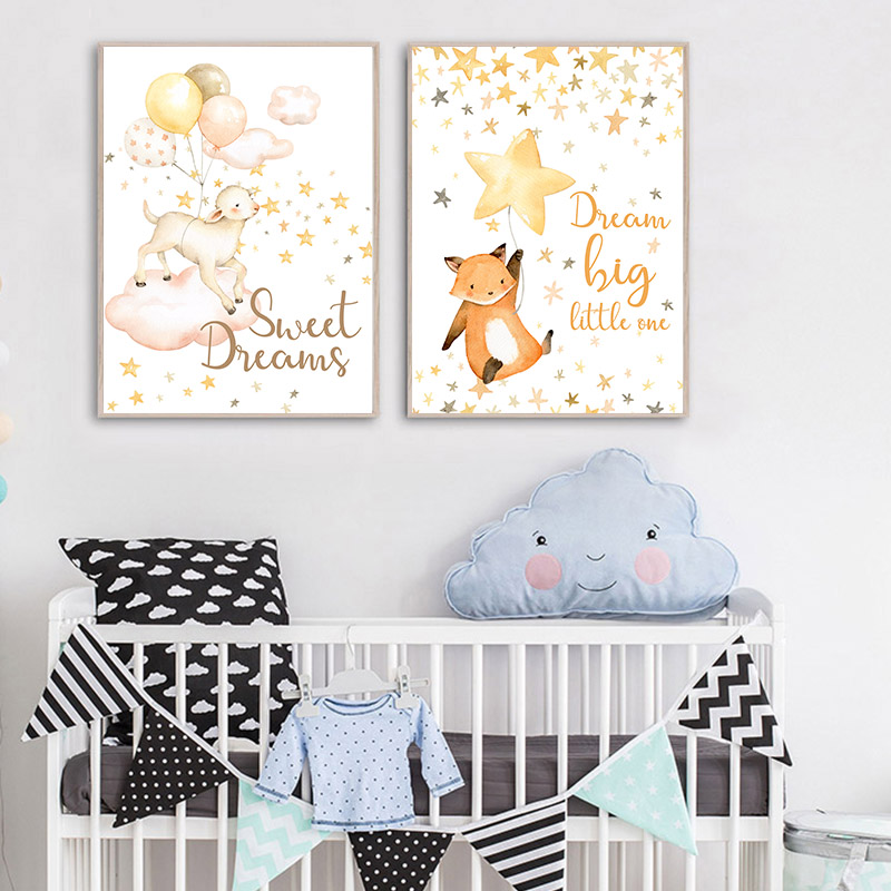Watercolor Animal Child Poster Lamb Bunny Nursery Quotes Canvas Art Print Wall Painting Nordic Kids Baby Room Decoration Picture