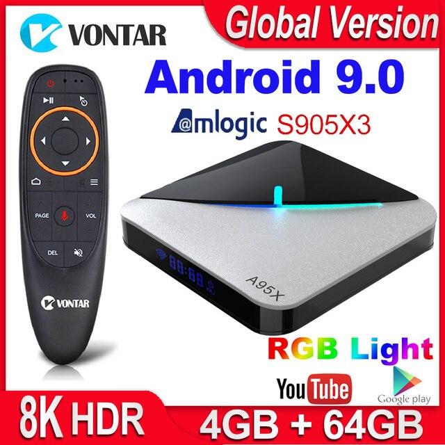 Decodificador de señal A95X F3 Air Dispositivo de TV inteligente, Android 9,0, Amlogic S905X3, 4GB, 64GB, 32GB, Wifi, 4K, Youtube, 2GB, 16 GB, luz RGB, 8K