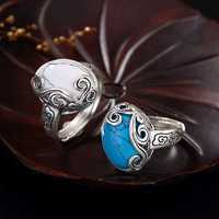 Leouerry 925 Sterling Silver Vintage Auspicious Cloud Turquoise Ring Blue and White Turquoise Rings for Women Jewelry