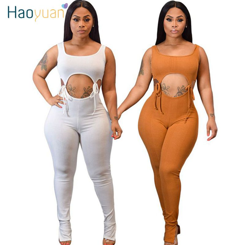 HAOYUAN Sexy Hollow Out Lace Up Rompers Womens Jumpsuit Summer Body Clothes One Piece Club Outfits Sleeveless Bodycon Overalls