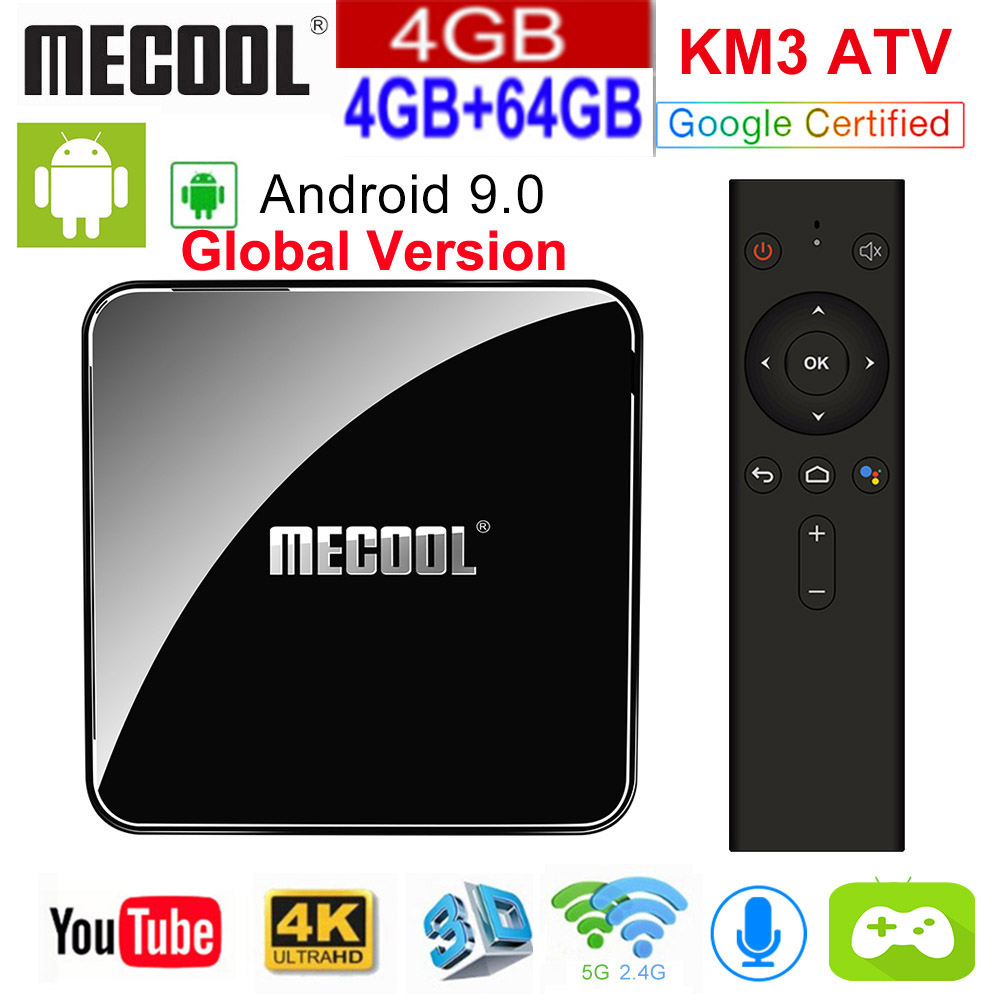 <font><b>MECOOL</b></font> KM3 9.0 ATV Androidtv Google Certified <font><b>Android</b></font> 9.0 <font><b>TV</b></font> <font><b>Box</b></font> 4GB 32GB Amlogic <font><b>S905X2</b></font> 4K 5G Dual Wifi BT4.0 <font><b>KM9</b></font> PRO 4G 32GB image