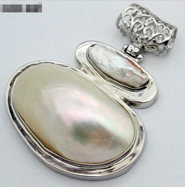 915 +++ mode Rare Riesige 60X47mm Natürliche Weiß Mutter der Perle Shell Conch Anhänger