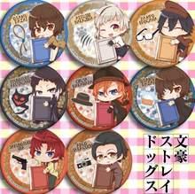 Broche ronde pour enfants, 8 pièces/lot, Badges de dessin animé Bungou Stray Dogs Rampo esugawa Ango Sakaguchi Dazai Osamu 4993, jouet, cadeaux