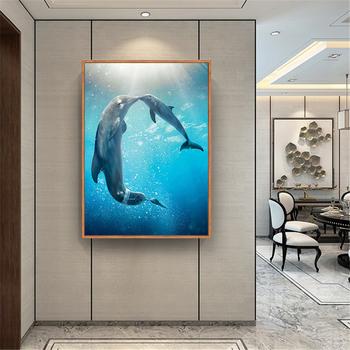 Dekoracja pokoju dziecięcego delfin plakat morze OceanSunset delfin malarstwo na płótnie drukuj Wall Art obraz do sypialni wystrój tanie i dobre opinie CN (pochodzenie) Wydruki na płótnie Pojedyncze PŁÓTNO Wodoodporny tusz Zwierząt bez ramki Nowoczesne dolphin poster