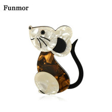 Funmor Lovely Mouse Animal Brooches Acrylic Jewelry Kids Girls Coat Collar Bag Decoration Accessories Routine Holiday Pins Gifts