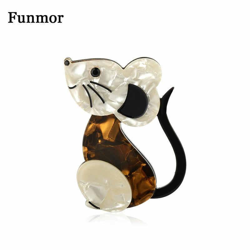 Funmor 素敵なマウス動物ブローチアクリルジュエリー子供の襟バッグ装飾アクセサリールーチン休日ピンギフト