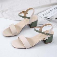 Sexy Buckle Sandals Women 2020 Summer New Elegant High Heels Strap Sandals Fashion Shoes Woman Sandals Green Khaki Block Heels