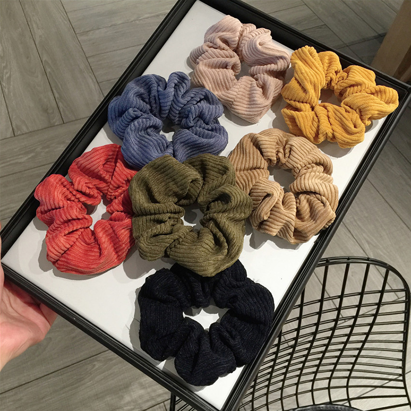 Soft Women Hair Rope Striped Corduroy 1PC Rubber Bands Big Solid Popular Ponytail Hair Accessories
