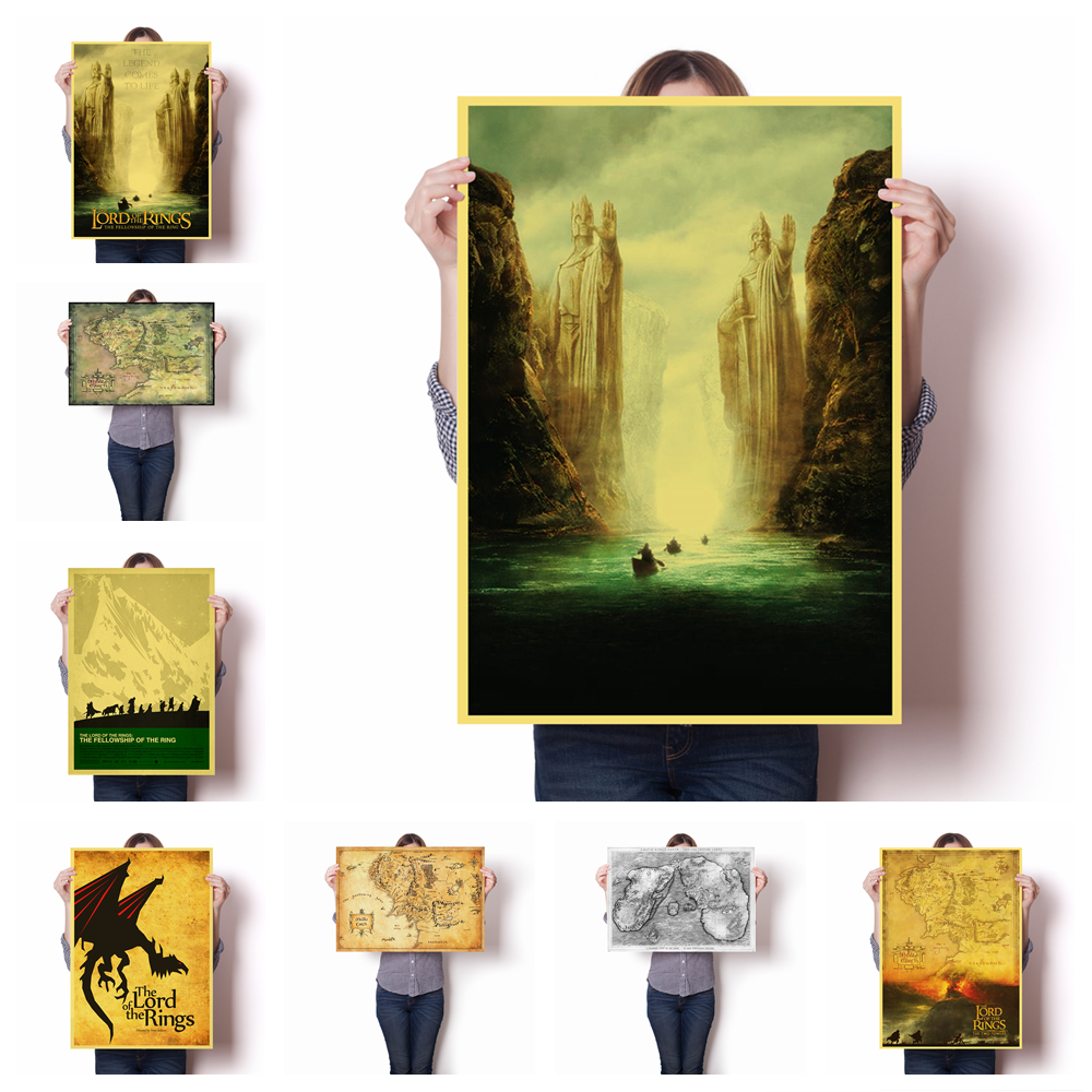Land Map In The Family Wall Decoration Art Lord Of The Rings Old Retro Poster Hight Quality Canvas Painting Home Decor O32