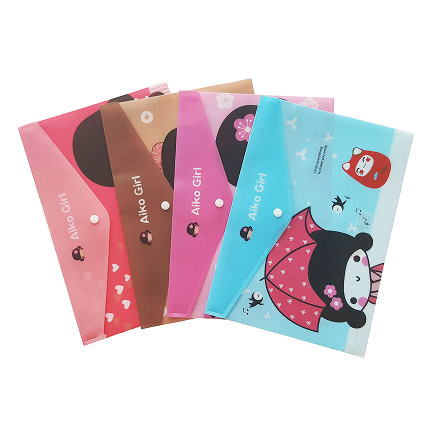 12pcs/lot Kawaii Japanese Girl PVC Big Capacity Document Bag Business Briefcase File Folders Products Student Gifts