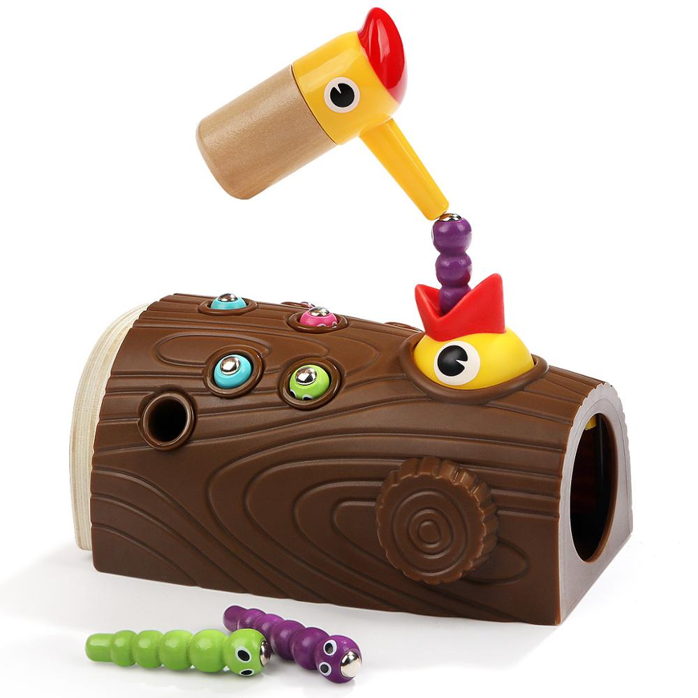 Wooden Magnetic Woodpecker Catch Caterpillar Worms Game Educational Kids Cogniton Toy Develop Fine Preschool Toys Gifts