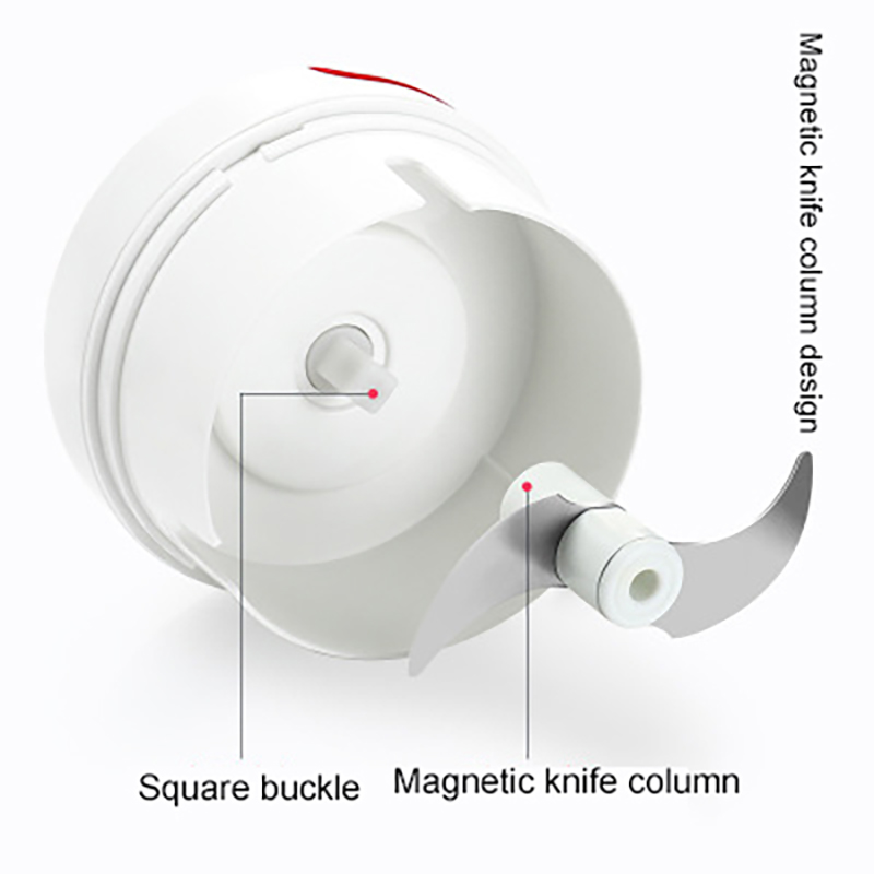 White Garlic Press ABS Stainless Steel Sturdy Resistant Prevent Slipping Magnetic Knife Column Automatic Adsorption Garlic Press