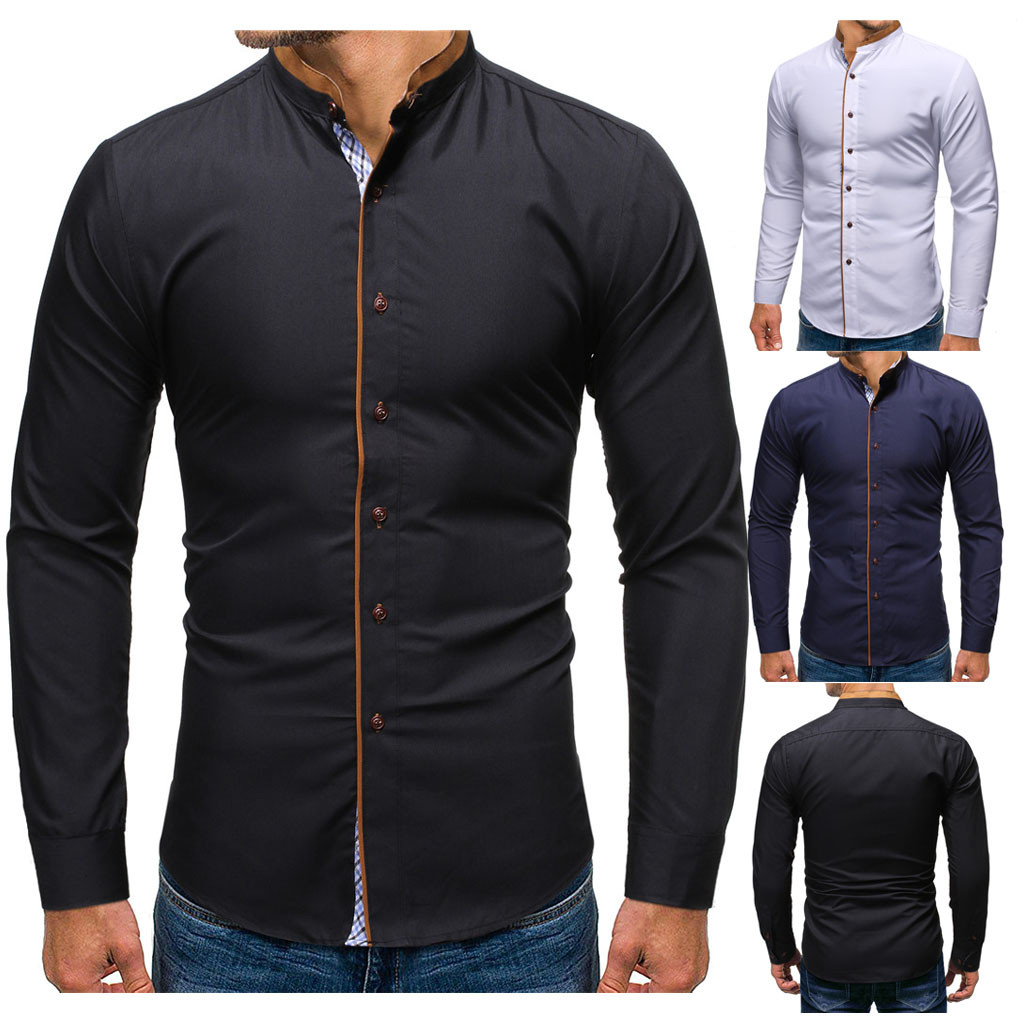 Are You Sure Not To Click In And See? Men's New Style Fashion Stamped Long Sleeve Shirt Printed Long-Sleeved Blouse Wholesale