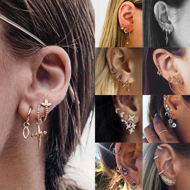 Earrings Set For Women Gold Silver Heart Sexy Summer Beach Leaves Vintage Girls Flower Small Earrings