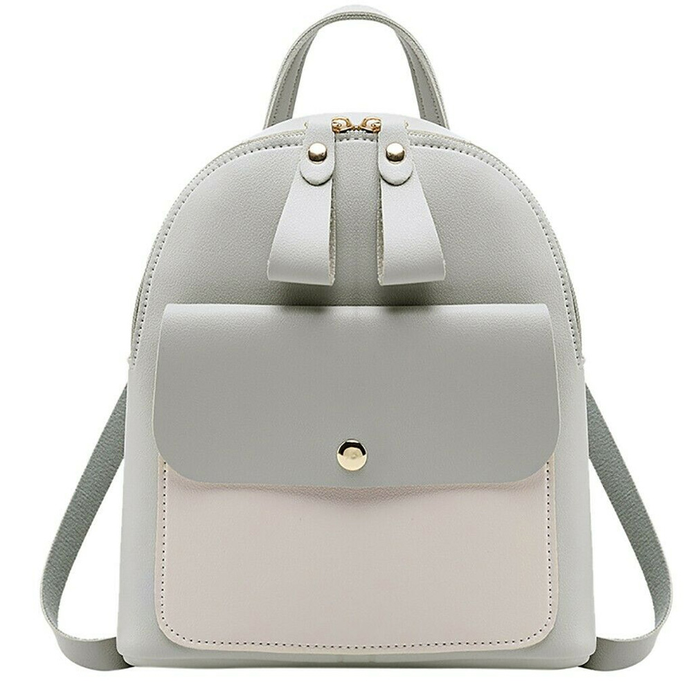 New Fashion Women Small Backpack Double Pull Zipper PU Leather Phone Holder Bag Small Fresh Girls Ladies Bags 2019
