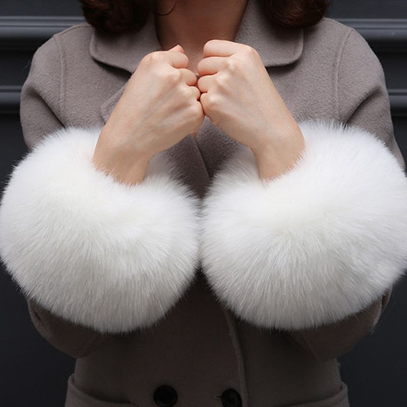 Faux Rabbit Fur Thicken Women Winter Warm Wrist Gloves Fake Cuff Oversleeve Arm High Quality And Brand New