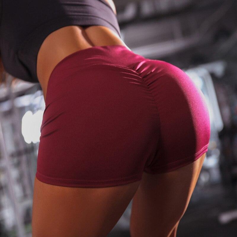 Женские повседневные Однотонные эластичные шорты с высокой талией и эффектом пуш-ап