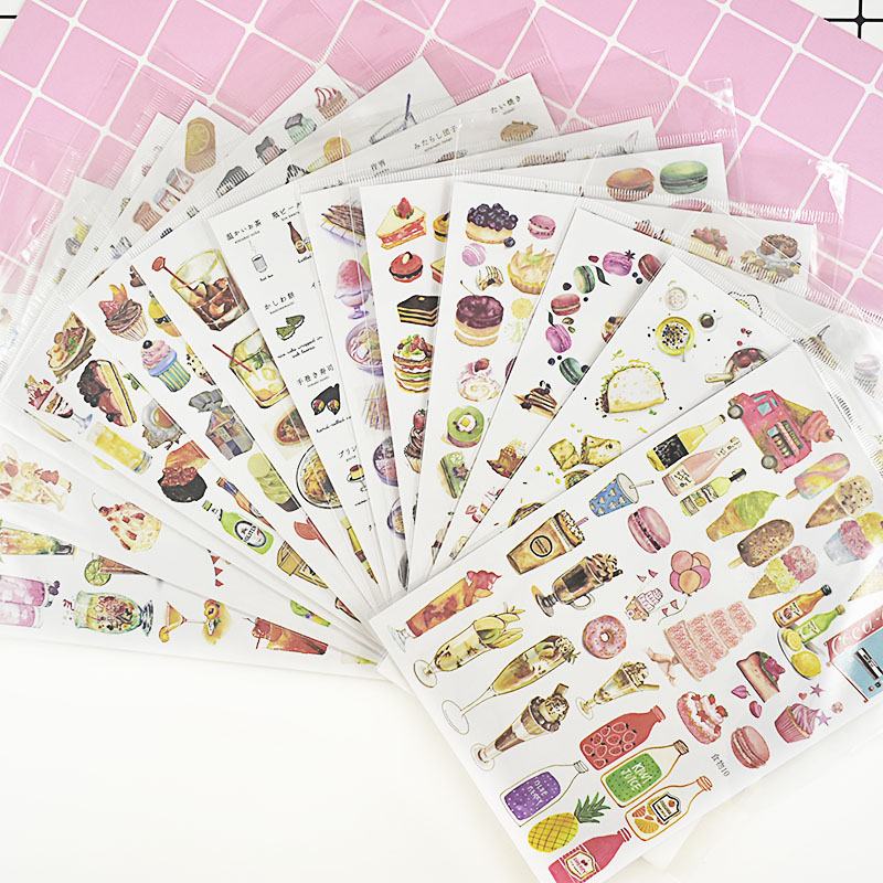 1Sheet 15*21cm Cute Drink Stationery Sticker Kawaii Foods Decor Sticker List Journal Sticker For Kids Diy Scrapbooking Diary