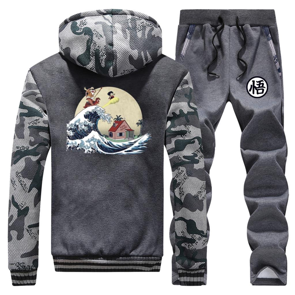 Men Tracksuit Sets Dragon Ball Streetwear Two Piece Suit Winter Hot Sell Male Camouflage Zip Hoodies Sports Sweatpants Harajuku