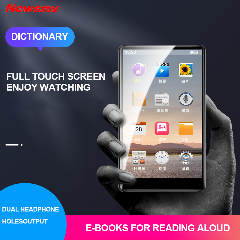 4 Inch Mp3 16GB Walkman Portable MP4 Player Full Touchscreen Music Player E-book Voice Reading MP5 FM Video Player image