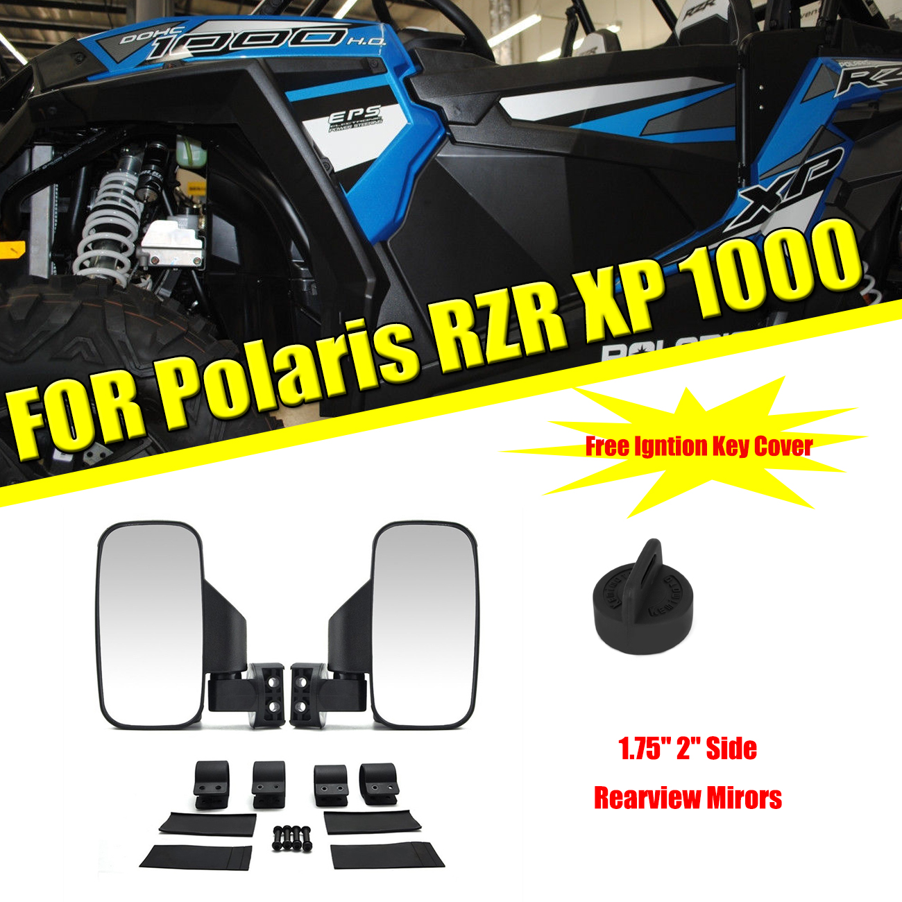 "KEMiMOTO 1.75"" 2"" UTV Mirror Side Rearview Mirrors For Polaris RZR PRO XP 800 900 1000 Ranger For Can Am Racing Mirror"