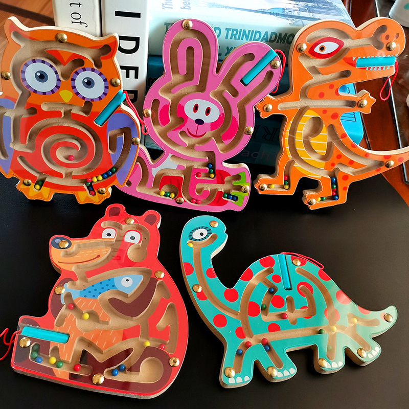 Kid Montessori Early Learning Educational Toys Wooden Magnetic Animal Maze Puzzle Dinosaur Walking Beads Labyrinth Children Toys