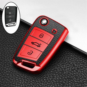 Image 5 - Car Key Case Cover For Volkswagen VW Polo Golf 7 MK7 Tiguan passat For Skoda Octavia Kodiaq Karoq For Seat Ateca Leon Key Bag