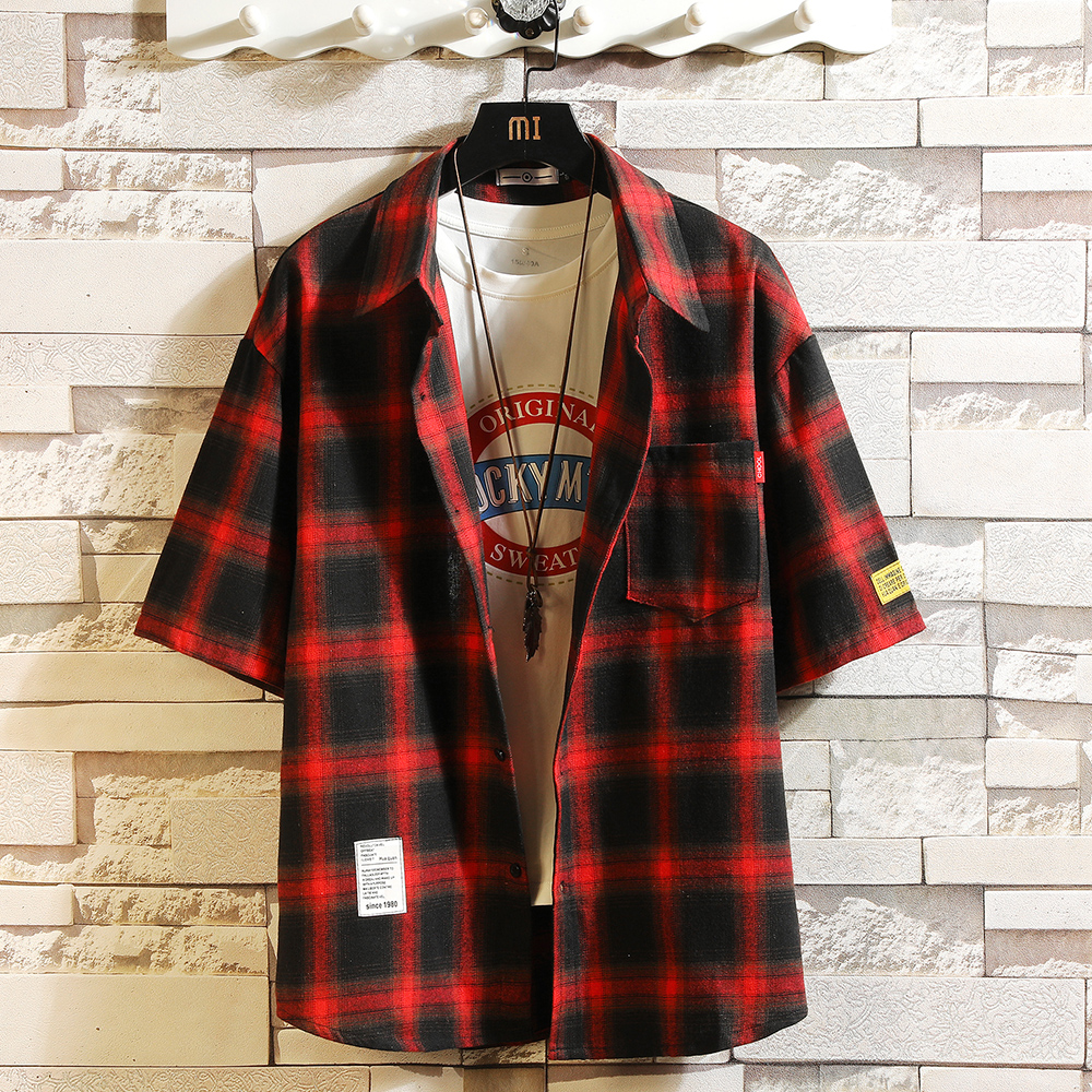 Men Half Shirt 2020 New Semmer Trellis  Short Sleeves Lapels Fashion Loose Clothing Casual Cool Coat Men's White Tops Size M-5XL