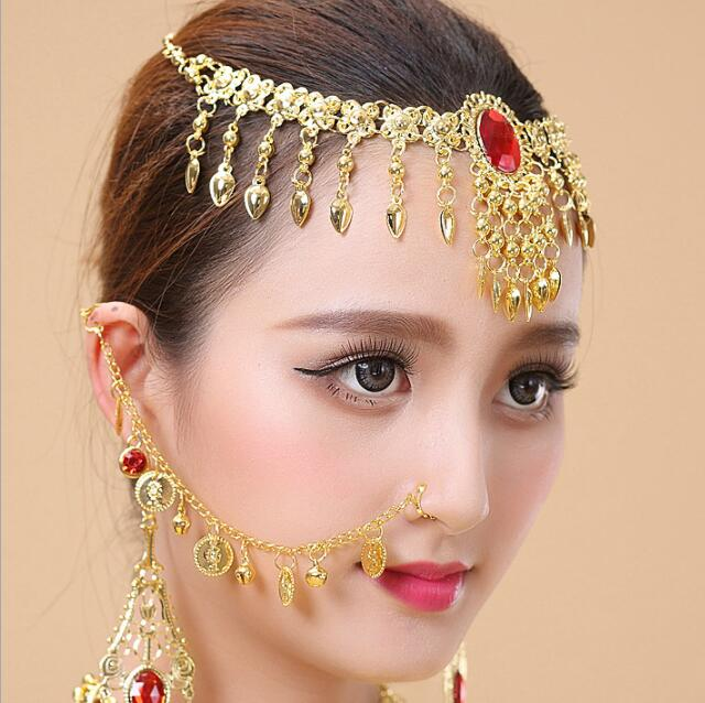 Indian Dancing Jewelry Girl Women's Belly Dance Red Necklace 3pcs/Set Nose Chain+Necklace+Earing